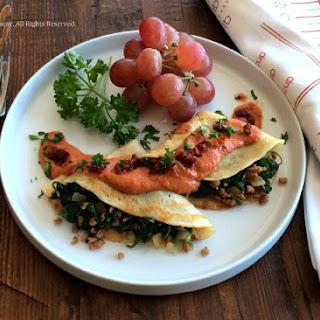 "Spinach and ""Just like Meat"" Stuffed Crepes."