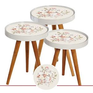 Set masute de cafea, design floral, diametru 39 cm - RS41