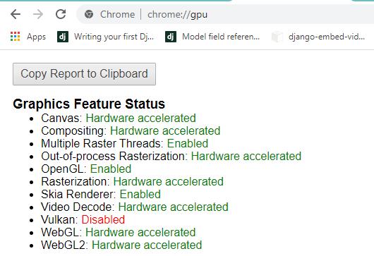 Hardware GPU report in chrome