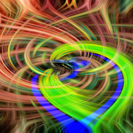 Peacock Twirl by Steve O'Donnell - Abstract Patterns ( abstract, patterns, blue, colorful, green, art, twirl, peacock )