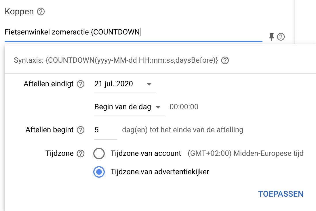 Countdown responsieve zoekadvertenties