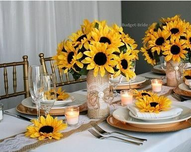 sunflower centerpieces for summer weddings