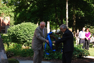 Photo: President J. David Arnold and Professor Emeritus Richard Sanders lay a wreath in the Reagan Peace Garden for the Reagan Memorial Ceremony on the 8th anniversary of his passing as staff, students, faculty, alumni and friends look on. June 5, 2012.