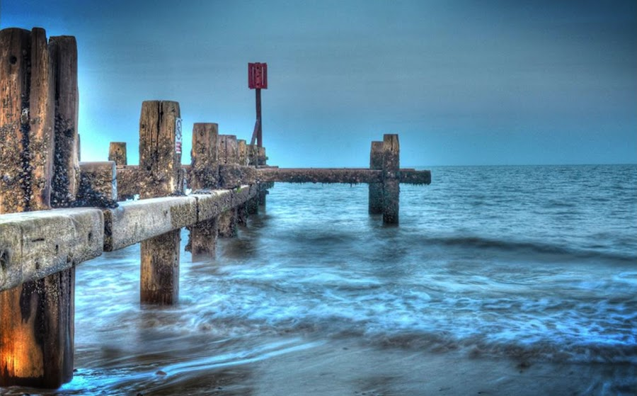 King Canute by Richard Dixon - Landscapes Beaches ( water, tide, moody, sea, beach )