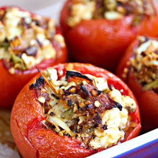 Baked Stuffed Tomatoes With Feta and Roasted Peppers.