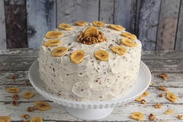 Marilyn's Moist Banana Cake Frosted.