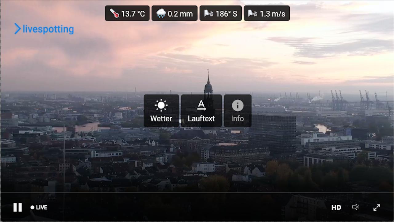 Deutschlands führender Spezialisten für LIve-Streaming erweitert sein Marketing-Tool für die Webseite um Wetterdaten, einen Lauftext und die Posterfunktion.