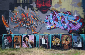 Photo: Wall of Fame  Hi everyone, hope you had a great weekend! My post for #streetartsunday featuers celebrity stencil work by the artist Niz.  This #austin wall is constantly changing - I took this photo a few months back, so if you stop by now, it's likely completely different.  #streetartsunday is curated by +Luís Pedro +Mark Seymour +Peter Tsai   #streetart #austintexas #graffiti #stencil #graffitistreetart #graffitiphotography
