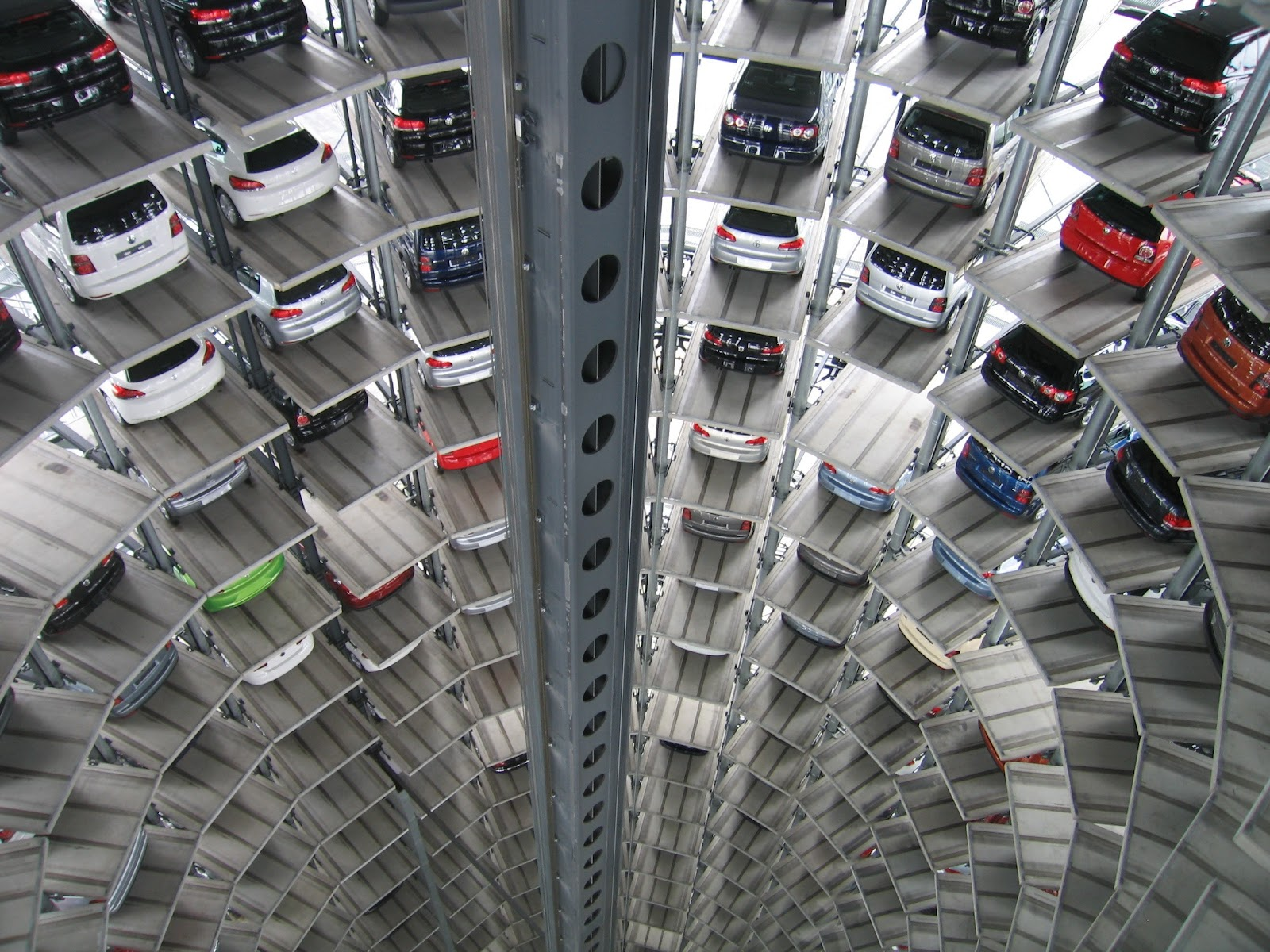 A multi-storey car parking lot.