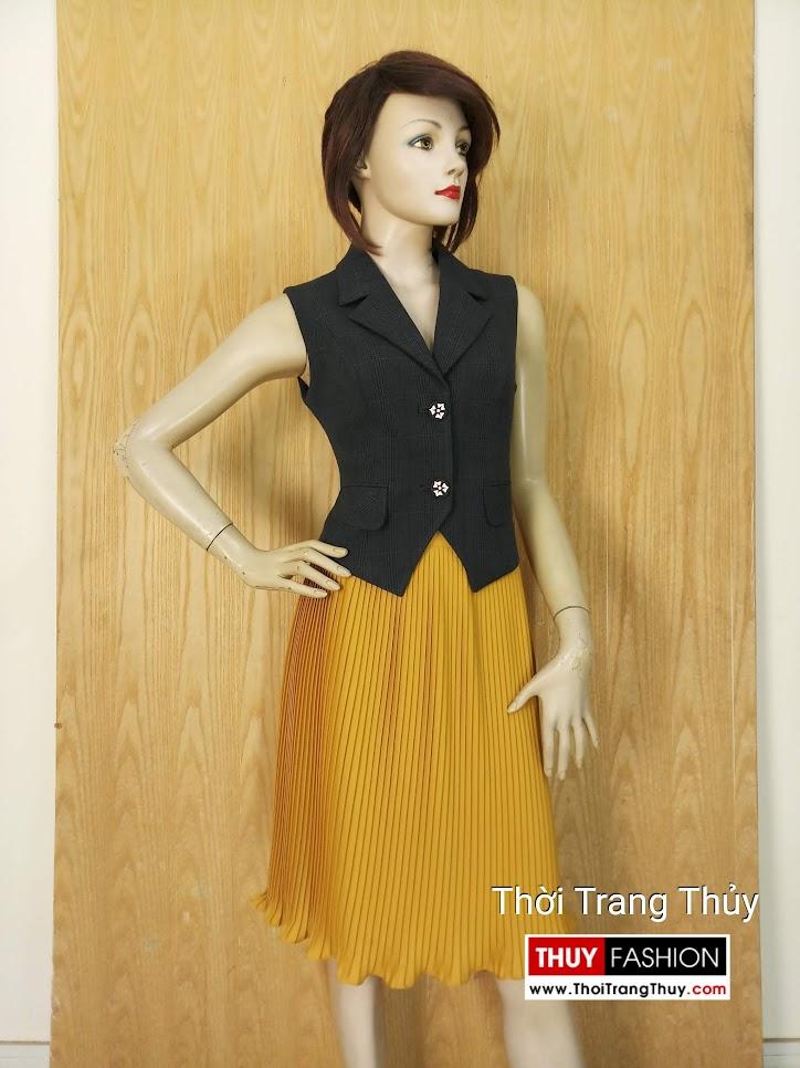 Áo Gile nữ cổ vest kẻ caro V647 tại Hải Phòng