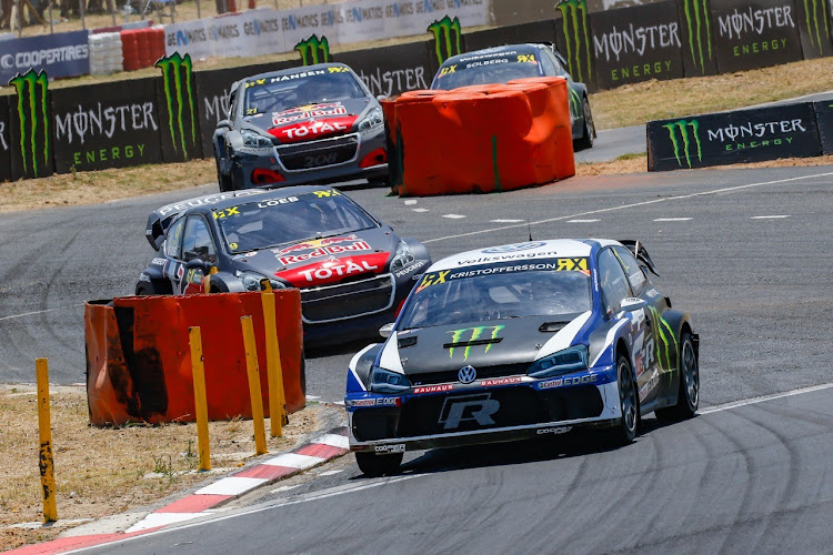 Johan Kristoffersson leads the pack at Killarney in his VW Golf R. Picture: SUPPLIED