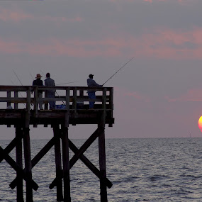 Fishing the Bay by Brian Lord - Landscapes Sunsets & Sunrises ( nature, waterscape, delaware bay, fishing, sunrise )