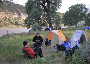 Photo: After a very windy float - Helen, Paul & Jean at Slaughter River Camp - RM 76.8