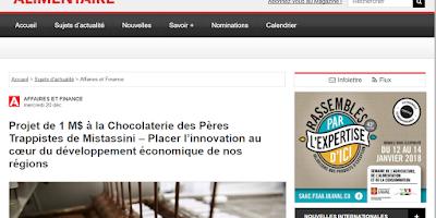 Projet de 1 M$ à la Chocolaterie des Pères Trappistes de Mistassini - AA L'actualité alimentaire