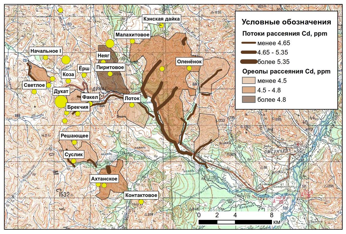 Линейные аномалии и площадные ореолы потоков рассеяния кадмия в пределах Дукатского рудного узла