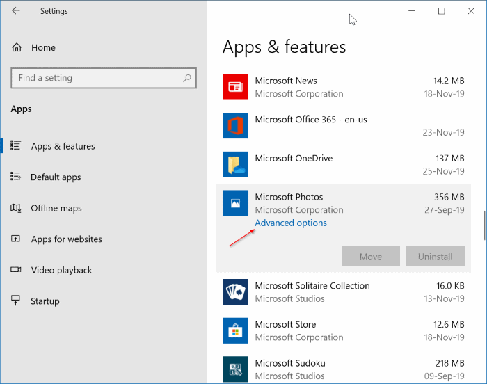 Microsoft Photos Advanced options link.