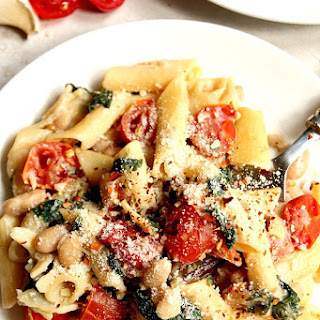 20-Minute Skillet Pasta with Tomatoes, Spinach and Beans.