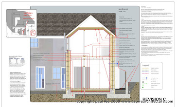 Photo: Cross Section: Energy efficient extension to Dwelling near Kinsale, Co. Cork, Ireland. Completion scheduled for January 2010. Photos to be made available. Documentation produced exclusively in SketchUp Pro/ LayOut