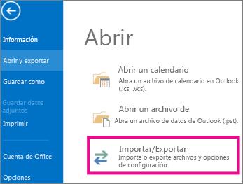 Exportación de archivos