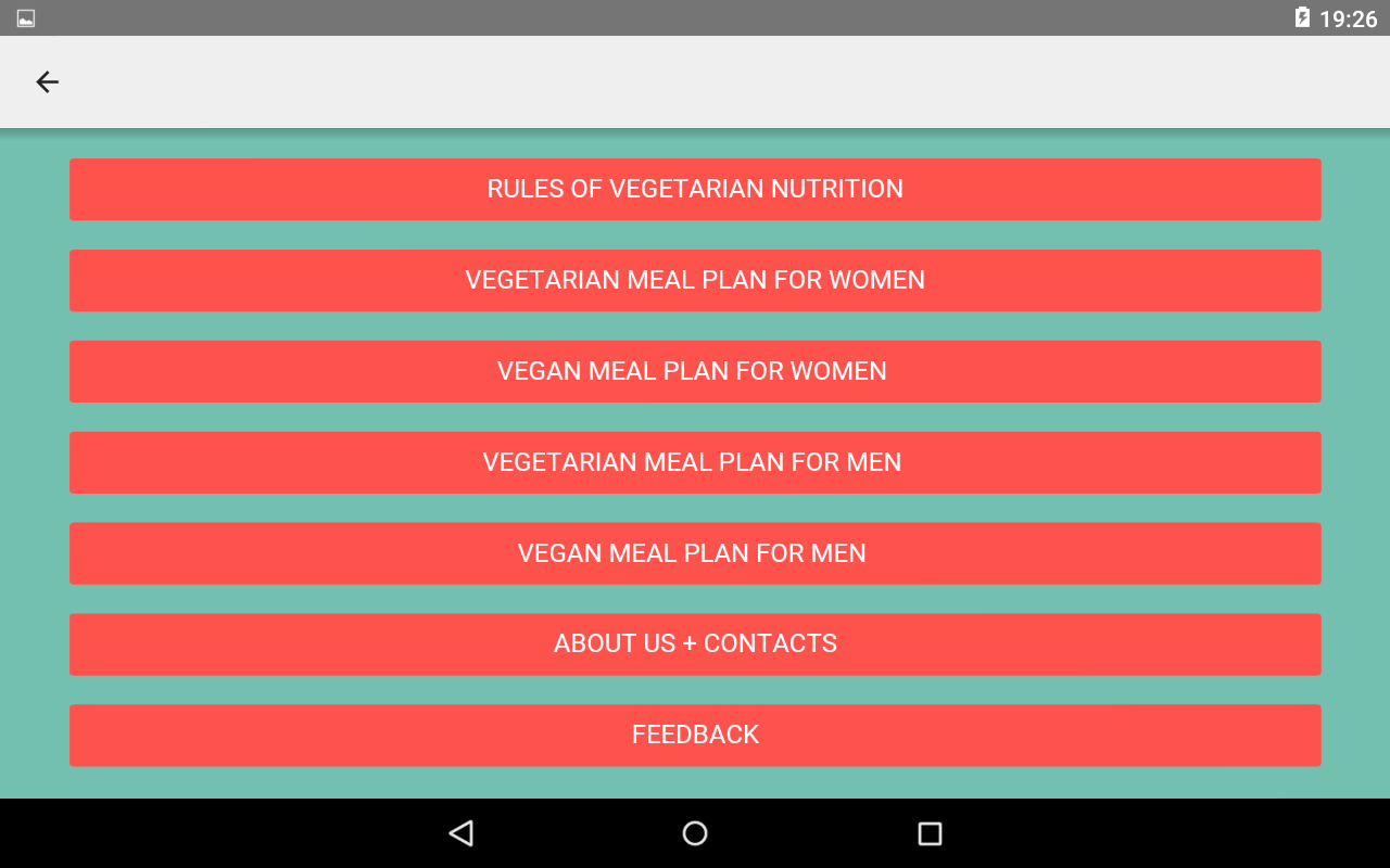 Vegetarian Workout Diet Plan Screenshot