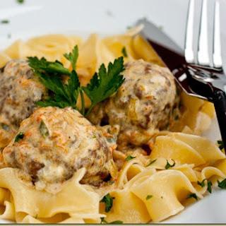 Meatballs & Pasta in White Jalapeno Sauce