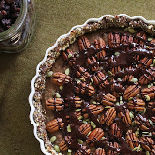 Chia Caramel Pecan Pie With Cinnamon Chocolate Sauce