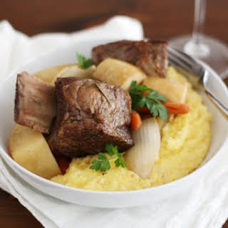 Slow Cooker Stout Short Ribs with Creamy Parmesan Polenta.