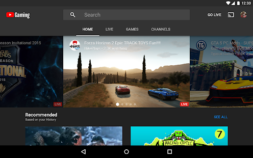 YouTube Gaming Screenshot