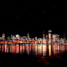 Chicago Night by Fraya Replinger - City,  Street & Park  Skylines ( chicago skyline, skyline, illinois, colorful, night, chicago,  )