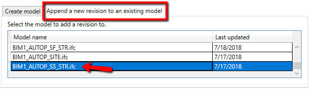 Publish model : BIM Track