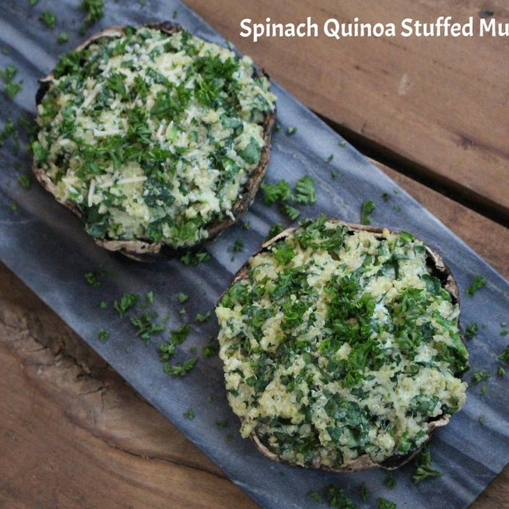 Spinach Quinoa Stuffed Mushrooms