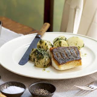 Crispy Cod with Salsa Verde Potatoes.