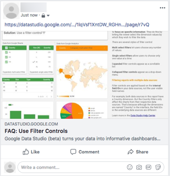 Example of posting a Data Studio report on Facebook.