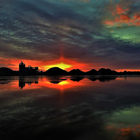 Tequila Sunrise by Kathy Woods Booth - Landscapes Sunsets & Sunrises ( sunrise, reflections, cloudscape, dawn, riverscape, mirrored reflections, icy )