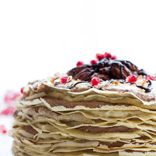 Toasted Coconut Cream Rum and Chocolate Mousse Crepe Cake.