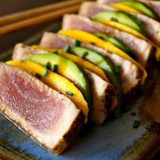Seared Ahi Tuna Mango-Avocado Appetizer.