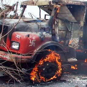 fire in track by Rajesh Kumar - Transportation Automobiles