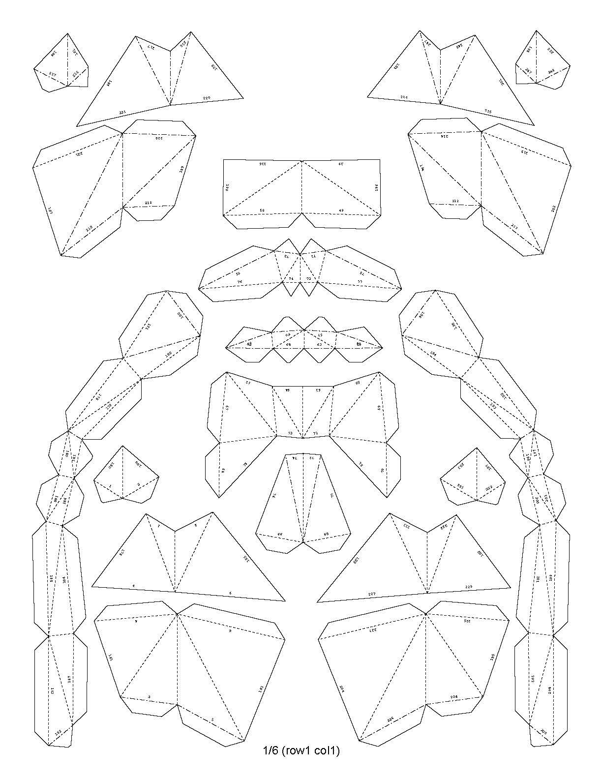 Шаблон копилки в технике паперкрафт