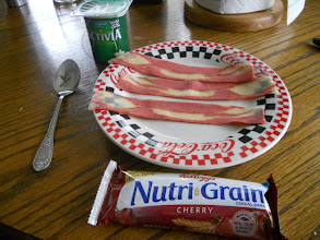Photo: Mom's breakfast : yogurt, cereal bar, and 3 Bacon strips
