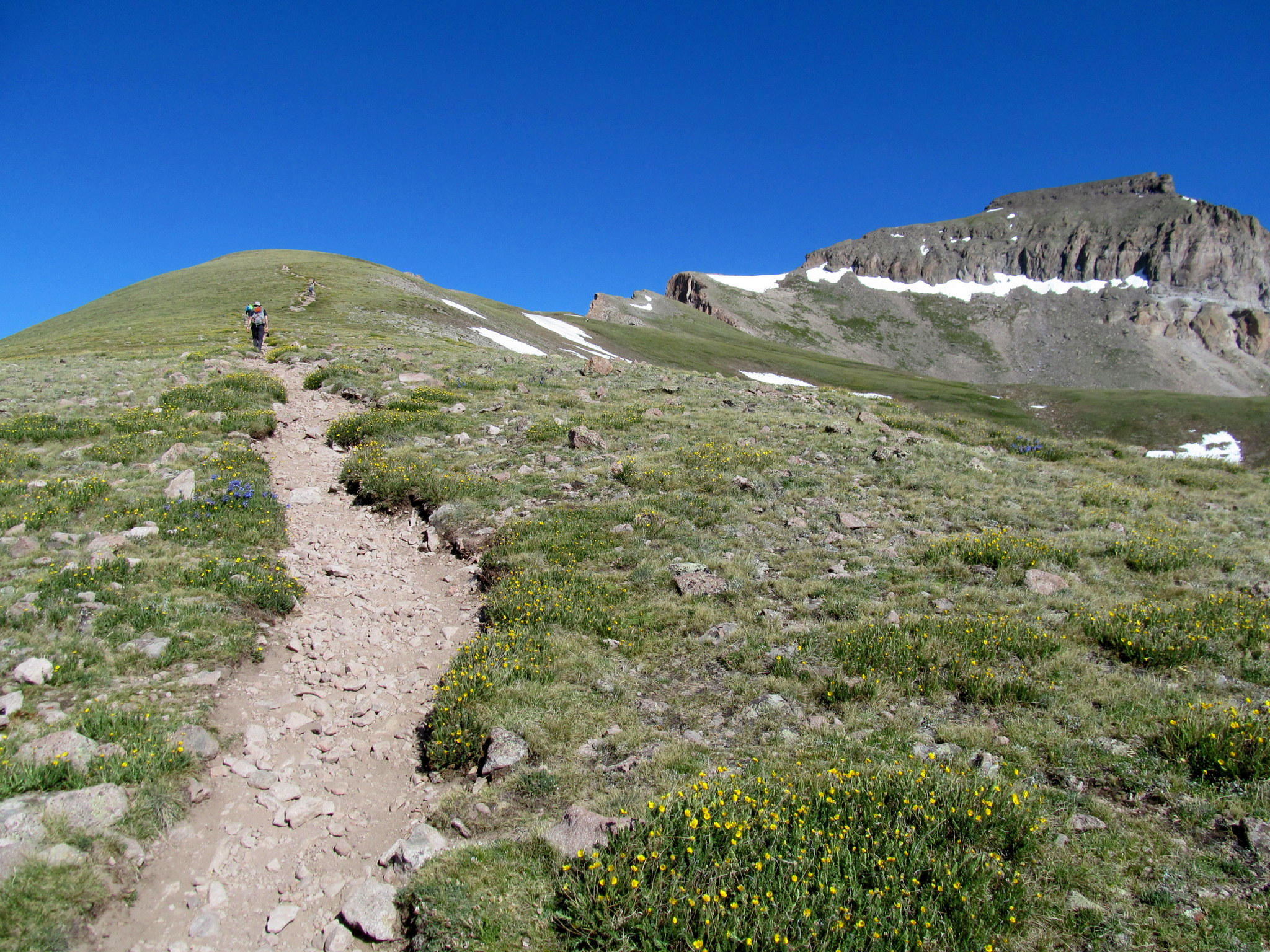 Photo: Steeper terrain below the summit block