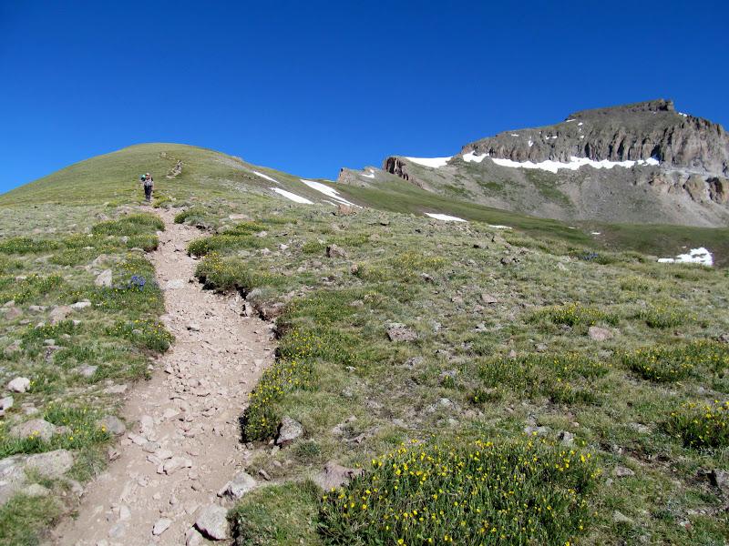 Photo: Steeper terrain below the summit block