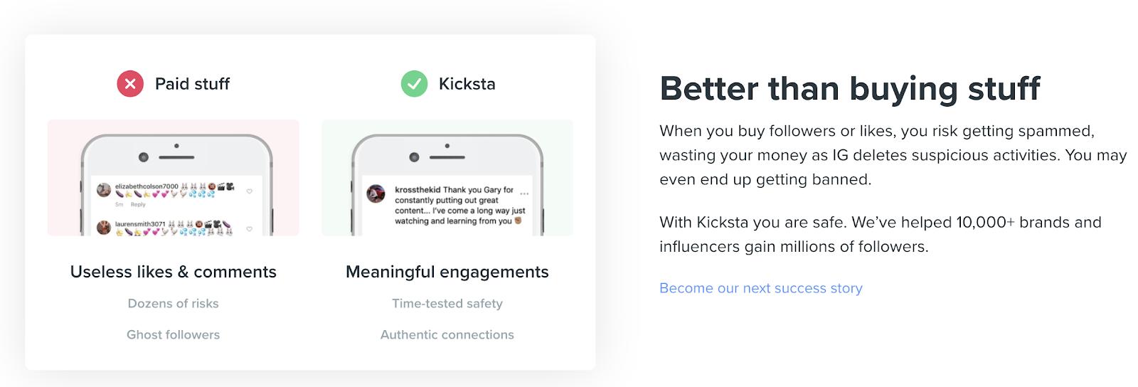 Kicksta for follower growth