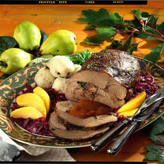 Roast Wild Boar with Red Cabbage and Quince.