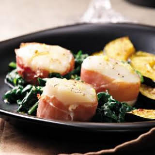Prosciutto-Wrapped Scallops with Spinach.