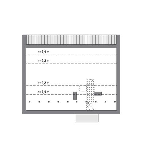 Przejrzysty - wariant VI - C365f - Rzut poddasza do indywidualnej adaptacji (43,5 m2 powierzchni użytkowej)