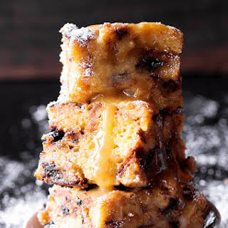 Chocolate Chip Panettone Bread Pudding with Bourbon-Butter Sauce.