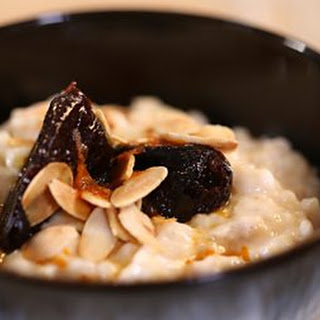 Spiced rice pudding with prune and Marsala compôte.