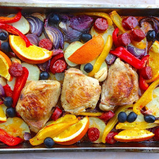 Roast Chicken Thighs with Chorizo and Orange