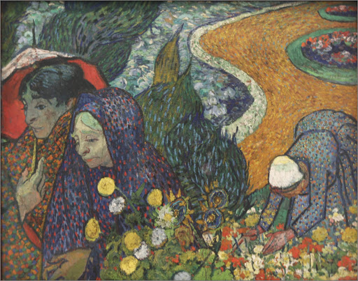 "van-gogh-memory-of-the-garden-at-etten.jpg -  Vincent van Gogh, ""Memory of the Garden at Etten (Ladies of Arles),"" 1888, oil on canvas, at the Hermitage at St. Petersburg, Russia."