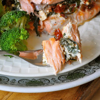 Salmon Stuffed with Spinach, Sun-Dried Tomatoes, and Feta.